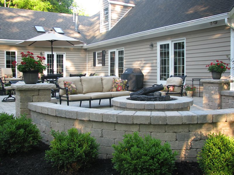 Fire pit new carlisle oh photo gallery landscaping for Patio ideas with fire pit on a budget