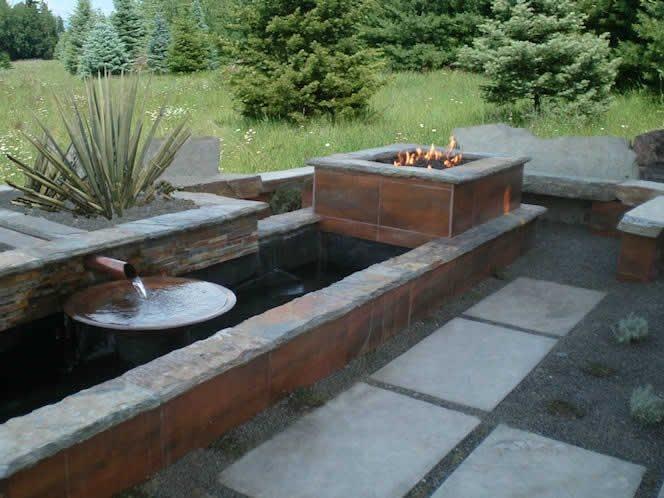 Backyard Water Feature Fire Pit The Garden Artist, LLC Boise, ID