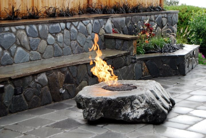 Basalt Fire Feature Fire Pit Oasis Outdoor Environments Woodinville, WA