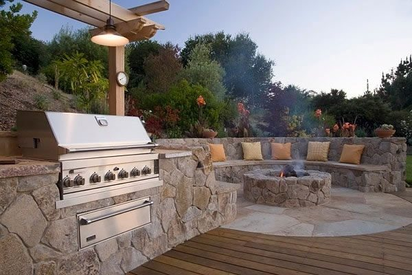 Built In Stainless Grill Fire Pit Michelle Derviss Landscape Design Novato, CA