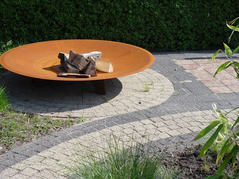 Corten Fire Pit, Circular Pavers, Gray Pavers Fire Pit Maureen Gilmer Morongo Valley, CA