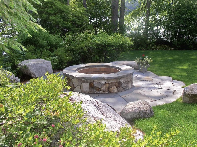 Custom Masonry Fire Ring Fire Pit Belknap Landscape Co., Inc. Gilford, NH