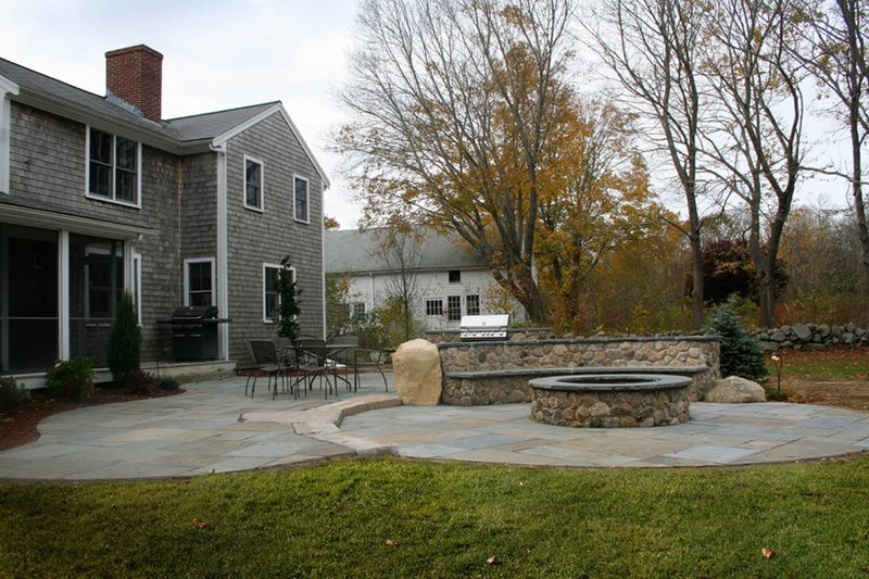 Custom Stone Fire Pit Fire Pit Captain's Landscape Design and Build Duxbury, MA