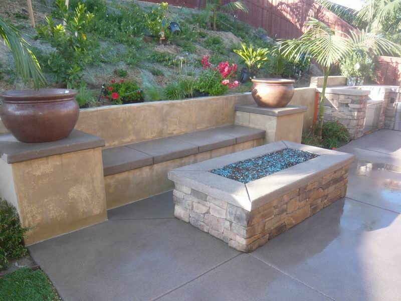 Fire Pit, Gas, Rectangle, Glass Filler Fire Pit Quality Living Landscape San Marcos, CA