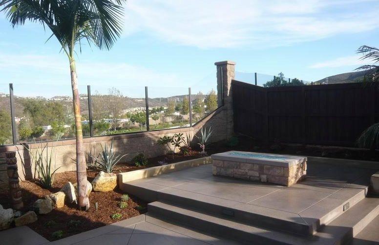 Fire Trough, Concrete, Decorative Joints Fire Pit Quality Living Landscape San Marcos, CA