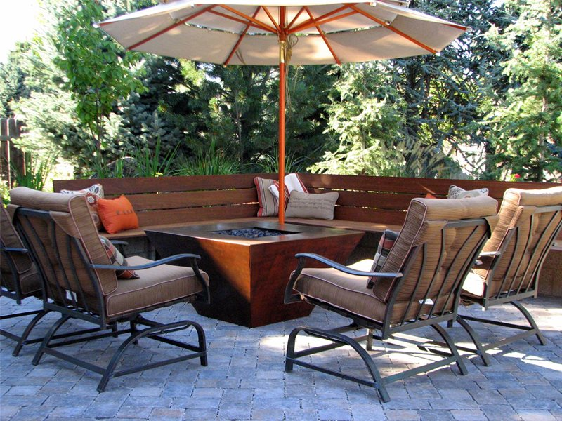 Gas, Pyramid, Benches, Modern, Umbrella Fire Pit Breckon Land Design Inc. Garden City, ID