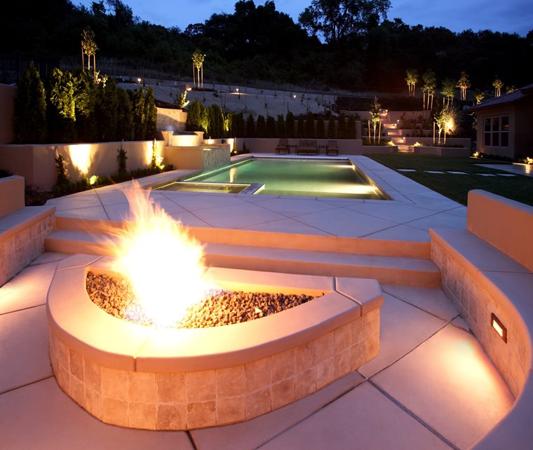 Half Moon Fire Pit, Custom Built Fire Pit Fire Pit Landscaping Network Calimesa, CA