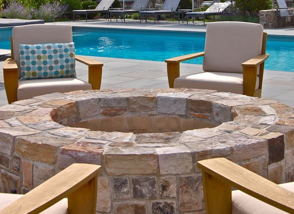 Large Round Sandstone Fire Ring Fire Pit Liquidscapes Pittstown, NJ