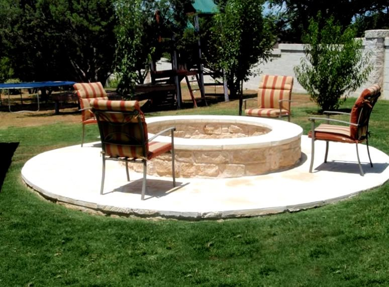 Limestone Fire Ring Fire Pit GreenScapes Landscaping and Pools Austin, TX