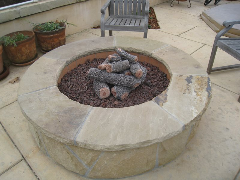 Natural Stone Fire Pit Fire Pit Down to Earth Landscapes Santa Barbara, CA