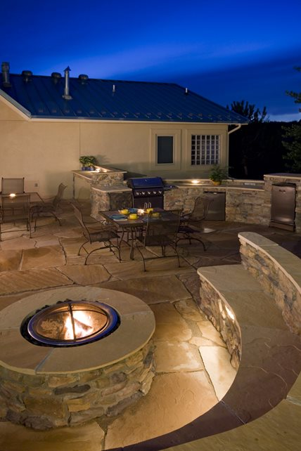 Natural Stone Fire Pit Surround Fire Pit Landscaping Network Calimesa, CA