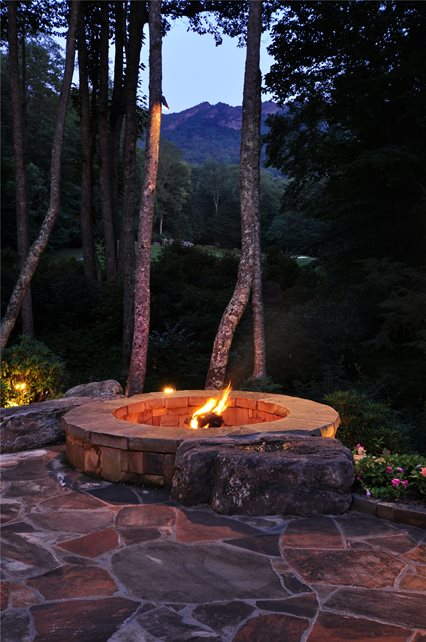 Round, Fire Pit, Boulders, Flagstone Fire Pit Greenleaf Services Inc. Linville, NC