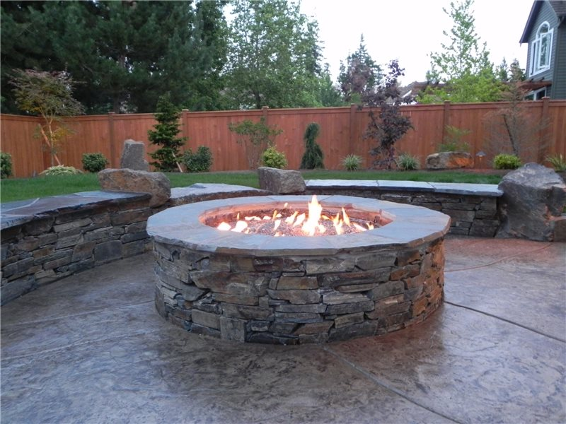 Round Gas Fire Pit Fire Pit Sublime Garden Design Snohomish, WA