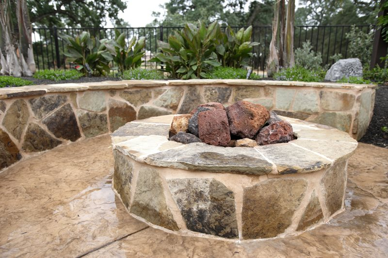 Round Gas Fire Ring, Lava Rock Fire Pit Fire Pit Landscaping Network Calimesa, CA