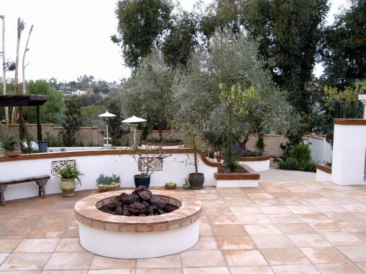 Spanish Fire Pit, White Stucco, Terra Cotta Cap Fire Pit Quality Living Landscape San Marcos, CA