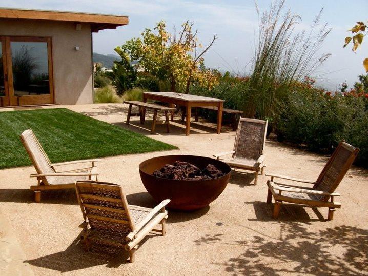 Steel Fire Bowl Fire Pit Joseph Marek Landscape Architecture Santa Monica, CA