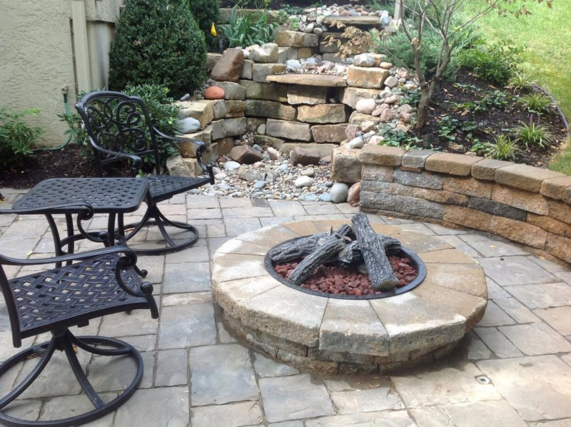 Steel Fire Pit Insert, Faux Logs Fire Pit Turf Designers Lees Summit, MO