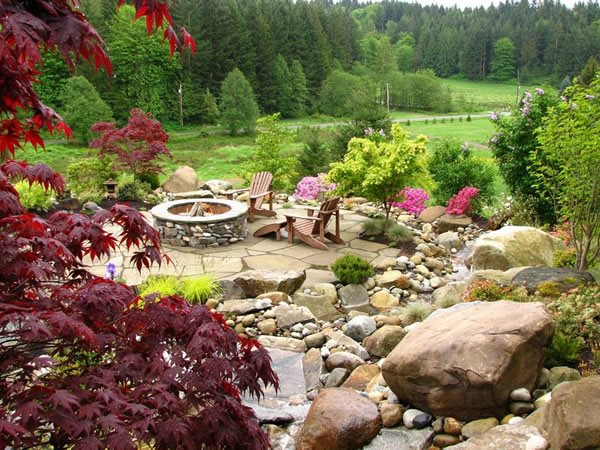 Stone Fire Pit, Flagstone Paving, Adirondack Chairs Fire Pit Stock & Hill Landscapes, Inc Lake Stevens, WA