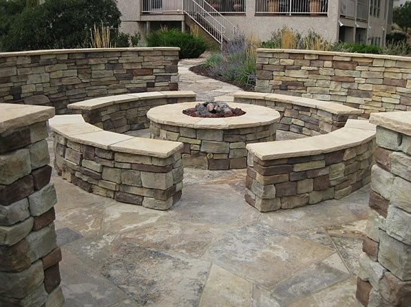 Stone Fire Pit, Seat Walls Fire Pit Accent Landscapes Colorado Springs, CO