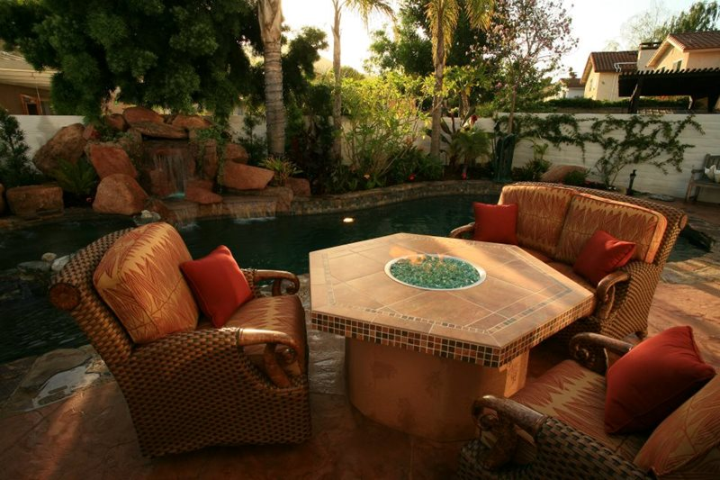 Tiled Fire Table Fire Pit Lisa Cox Landscape Design Solvang, CA