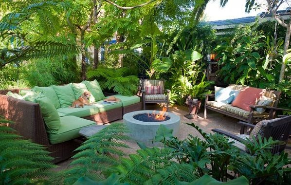 Tropical Fire Pit Fire Pit GreenTree Landscaping Los Angeles, CA