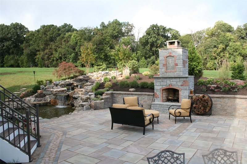 Backyard Outdoor Living Flagstone Patio Sunrise Landscape and Design Sterling, VA