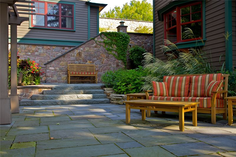 Coastal, Patio, Stone Flagstone Patio A J Miller Landscape Architecture Syracuse, NY