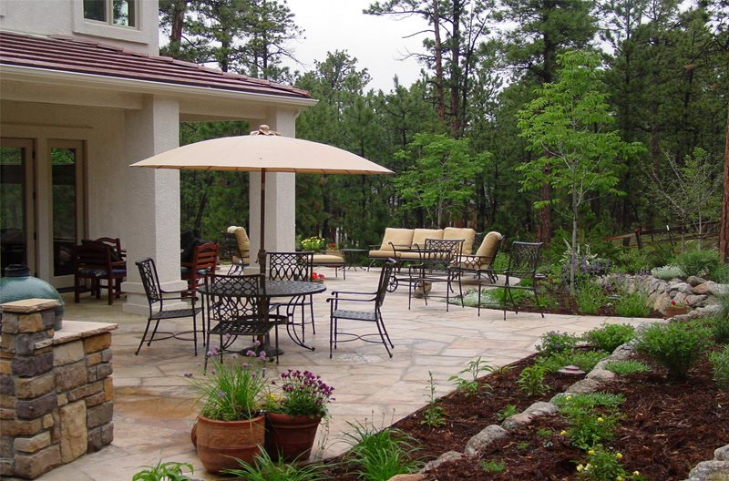 Outdoor Living Patio Flagstone Patio Accent Landscapes Colorado Springs, CO