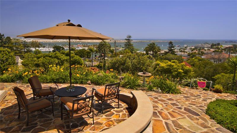 Stone, View, Ocean, Umbrella Flagstone Patio Landscaping Network Calimesa, CA