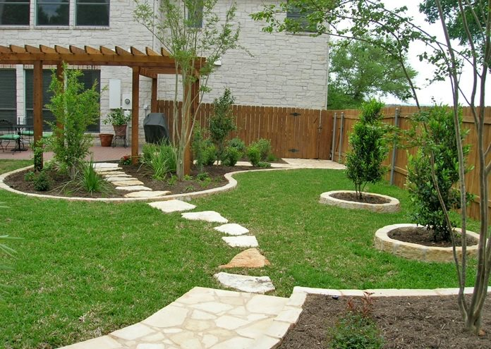 Backyard Lawn Flagstone Walkway Design My Yard Austin, TX