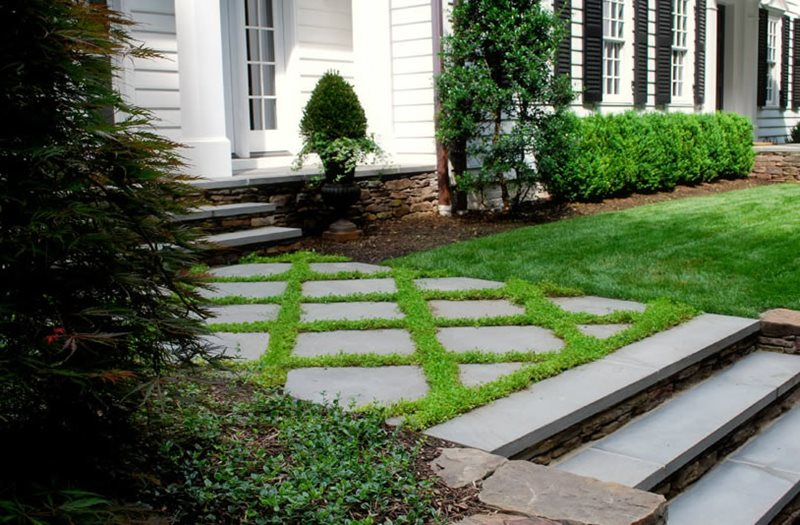 Flagstone, Path, Formal, Entry Flagstone Walkway Sisson Landscapes Great Falls, VA