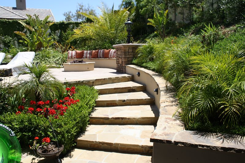 Flagstone Steps, Curved Steps Flagstone Walkway The Green Scene Chatsworth, CA