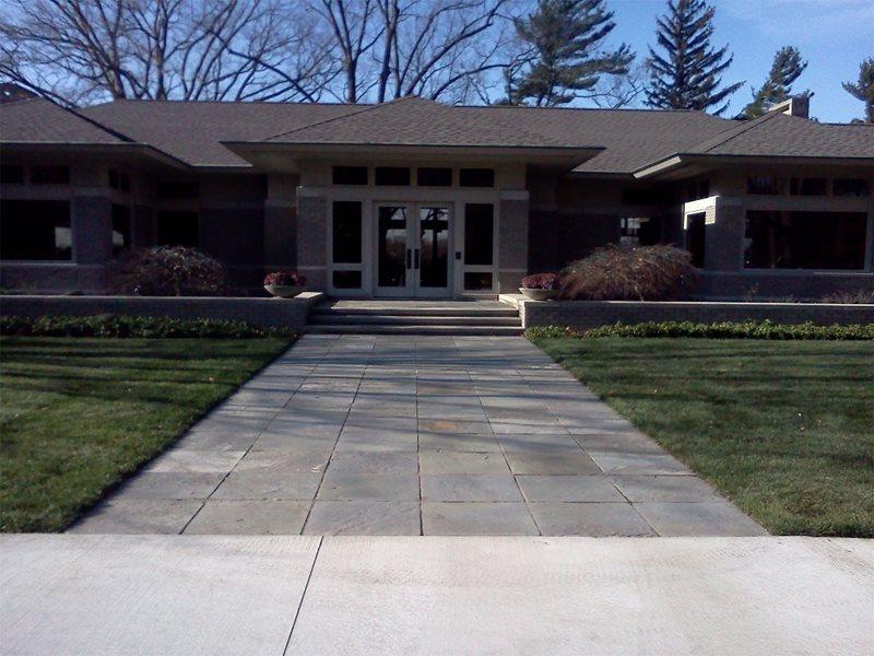Front Entry, Prairie, Asian Flagstone Walkway Blue Ridge Landscaping Holland, MI
