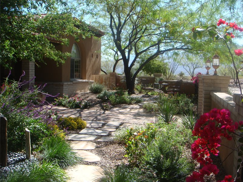 garden walkway flagstone walkway casa serena landscape designs llc las cruces nm - Flagstone Walkway Design Ideas