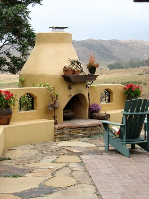 Adobe Outdoor Fireplace Flagstone Designs by Shellene San Diego, CA