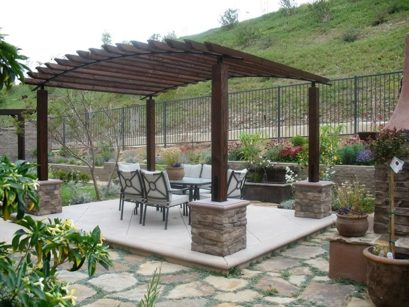 Arched Pergola Flagstone Designs by Shellene San Diego, CA