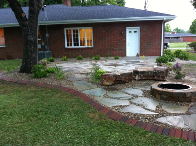 Backyard, Flagstone Patio, Fire Pit Flagstone Altered Grounds Landscaping Granite City, IL