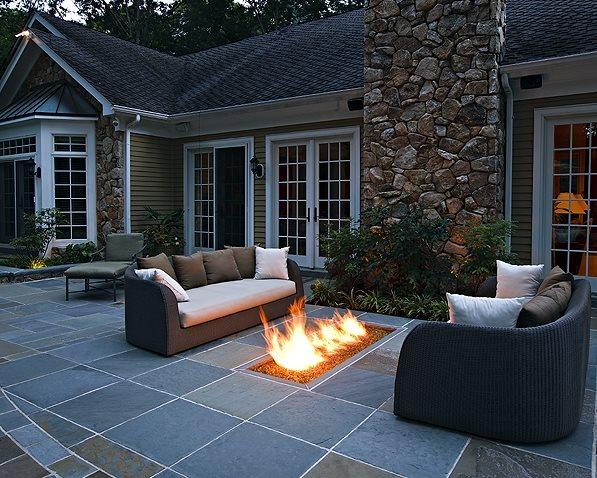 Backyard Gas Fire Feature, Fire Trough Flagstone Beechwood Landscape Architecture & Construction Southampton, NJ