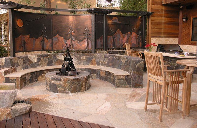 Custom Fire Pit Flagstone Michelle Derviss Landscape Design Novato, CA