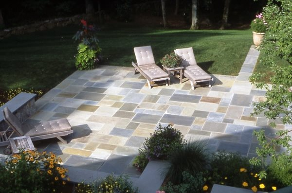 Cut Bluestone Patio Flagstone Hoffman Landscapes Wilton, CT
