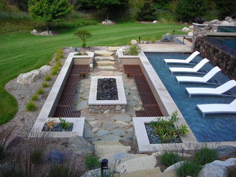 Fire Pit And Pool Flagstone Apex Landscape Grand Rapids, MI