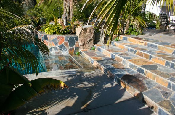 Flagstone, Colors, Stairway Flagstone DC West Construction Inc. Carlsbad, CA