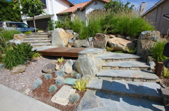 Flagstone, Front Yard, Steps, Entry Flagstone DC West Construction Inc. Carlsbad, CA