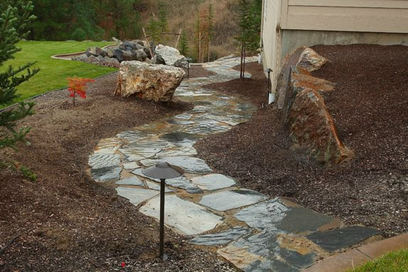 Flagstone Path, Path Lights Flagstone Copper Creek Landscaping, Inc. Mead, WA