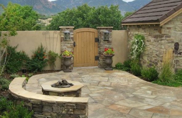 Flagstone, Paving, Patio, Fire Pit Flagstone Accent Landscapes Colorado Springs, CO