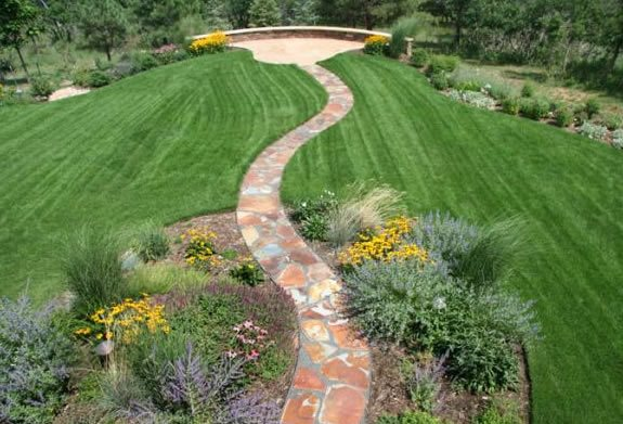Flagstone, Walkway, Curved, Red Flagstone Accent Landscapes Colorado Springs, CO
