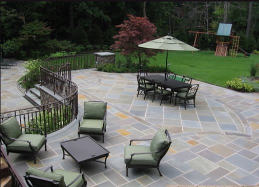 Full Color Bluestone Patio Flagstone Cipriano Landscape Design Mahwah, NJ