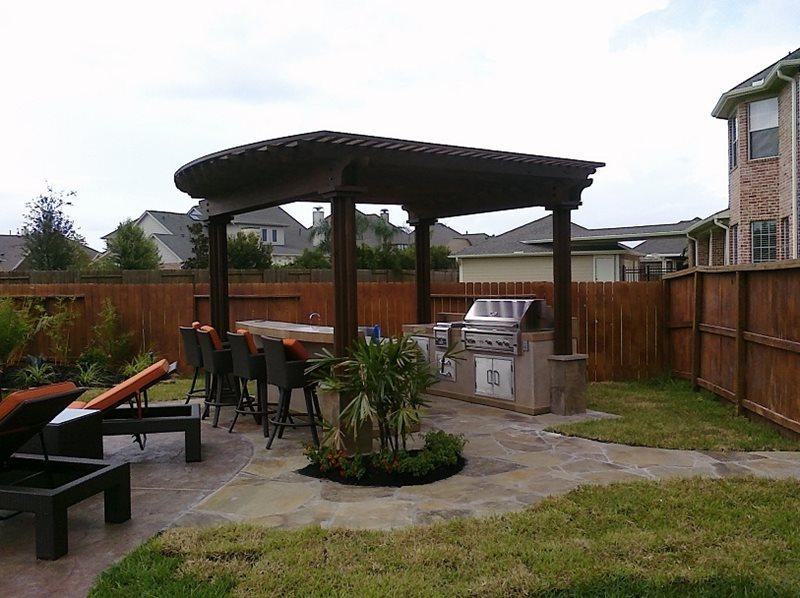 Grill, Pergola, Backyard, Barstools Flagstone RockFrog Backyard Escapes Katy, TX
