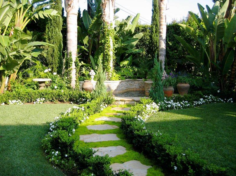 Groundcover Path Flagstone David A. Pedersen Landscape Architect Newport Beach, CA