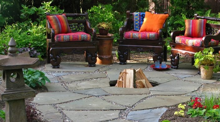 In Ground Fire Pit Flagstone Livable Landscapes Wyndmoor, PA
